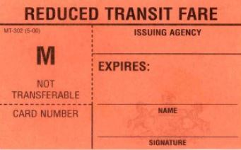 Reduced Fare Transit ID Card